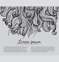 Hair doodle elements sketched waves on background vector