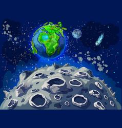 Cartoon colorful space landscape template vector