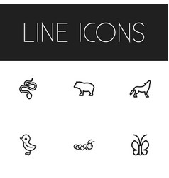 Set of 6 editable zoology outline icons includes vector