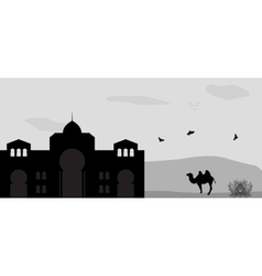 House in the desert and camel vector