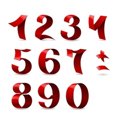 Set of isolated red ribbon numbers on white vector