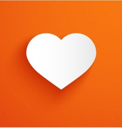 White paper heart on orange background vector image
