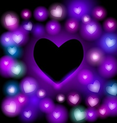 Abstract background with neon hearts on black vector