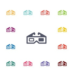3d cinema flat icons set vector
