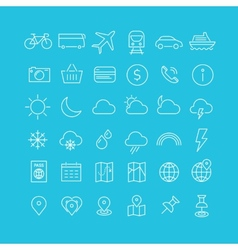 Travel tourism and weather icons set 1 vector