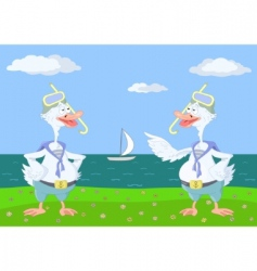 Two geese divers vector