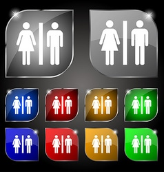 Silhouette of a man and a woman icon sign set of vector