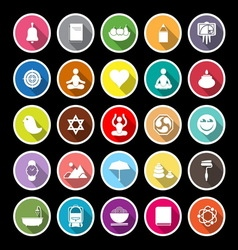 Zen society flat icons with long shadow vector