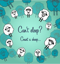 Cute sheeps postcard to night vector