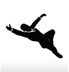 Silhouette of businessman superman pose vector