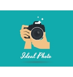 Photographer hands with camera flat vector