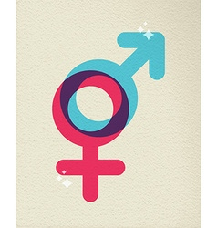 Human gender symbol colorful of male female vector