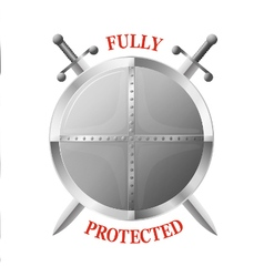 Metal shield with two crossed swords isolated vector