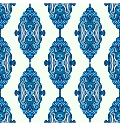 Luxury damask seamless pattern blue background vector