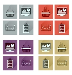 Concept flat icons with long shadow banking vector
