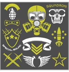 Military symbols with weapon and people uniform vector