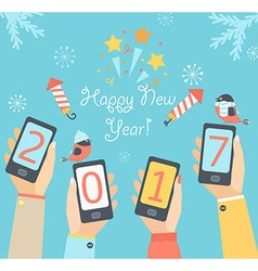 Mobile new year 2017 vector
