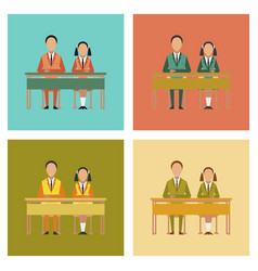 Assembly flat icons pupils at school desk vector