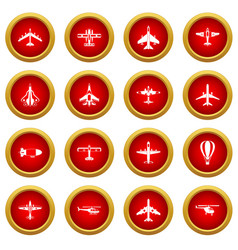 Aviation icon red circle set vector