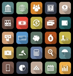 Banking flat icons with long shadow vector image