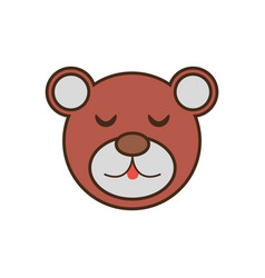 Bear cute face kawaii style vector