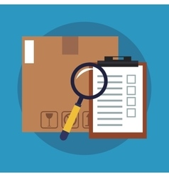 Box lupe and checklist of delivery concept design vector