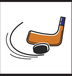 Canadian hockey stick and puck isolated vector