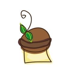 Chocolate muffin dessert vector