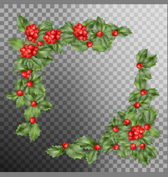 christmas holly branch corner eps 10 vector image vector image