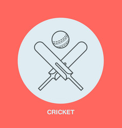 Cricket line icon bats and ball logo vector