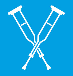 Crutches icon white vector