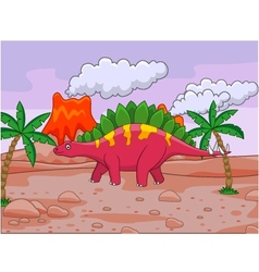 dinosaur cartoon and volcano vector image vector image