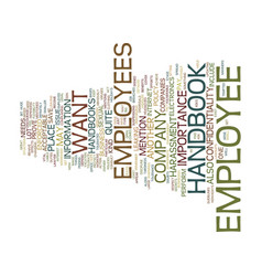 Employee handbook text background word cloud vector