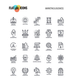 Flat line icons design-marketing and business vector