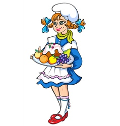 Girl in culinary hat with cake in hands vector