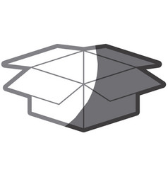Grayscale silhouette with box of cardboard opened vector