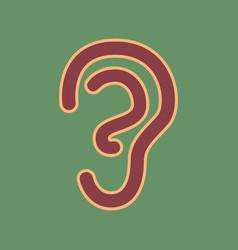 Human anatomy ear sign cordovan icon and vector