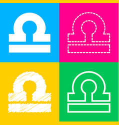 Libra sign four styles of icon on vector