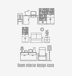 line art room interior icons set vector image