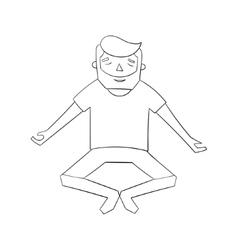 Meditation man black and white vector