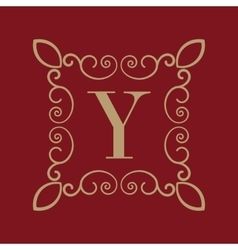 Monogram letter y calligraphic ornament gold vector