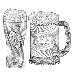Oktoberfest set of beer Hand drawn vector image