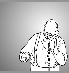 Old man with suspenders or braces using phone vector