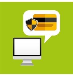 Online protection digital credit card bank vector
