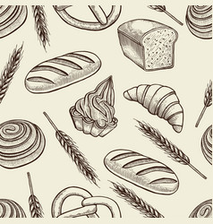 Seamless pattern with baking elements vector