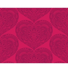 seamless pattern with hand drawn ornate hearts vector image vector image