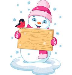 snowman and bullfinch vector image