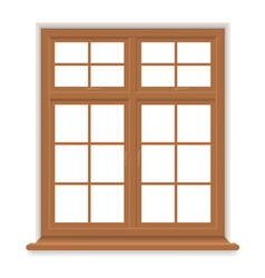 traditional wooden window isolated vector image vector image