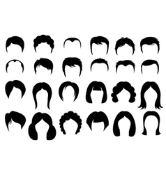 Female and male hair hairstyle silhouette vector image