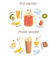 Fruit and protein smoothies infographic recipe vector